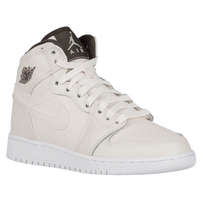 Jordan AJ 1 High Premium - Girls' Grade School - Off-White / Grey