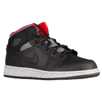 Jordan AJ 1 Mid - Boys' Grade School - Black / Grey