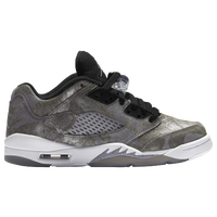 Jordan Retro 5 Low - Girls' Grade School - Grey / White