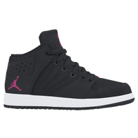 Jordan 1 Flight 4 - Girls' Preschool - Black / Pink