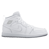 Jordan AJ1 Mid - Boys' Preschool - White / Grey
