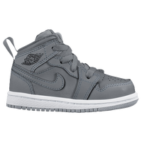 Jordan AJ 1 Mid - Boys' Toddler - Grey / White