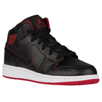 Jordan AJ 1 Mid - Boys' Grade School - Black / Red