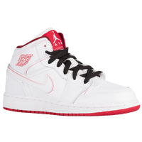 Jordan AJ 1 Mid - Boys' Grade School - White / Red