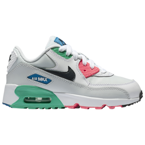 Nike Air Max 90 - Boys' Preschool - Casual - Shoes - White/Obsidian/Pure  Platinum/Blue Nebula